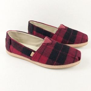 Toms Classic Red Plaid Felt on Leather Flat